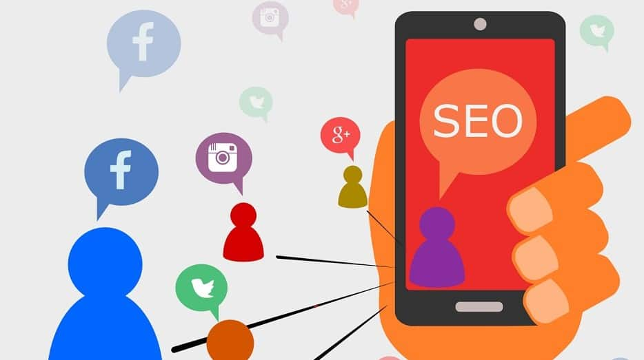 Social Media icons and phone with SEO