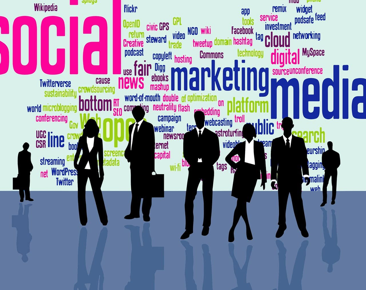 Various aspects of online marketing with a silhouette of businesspeople standing in front