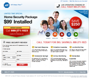 Example of ADT Lead Generation Page