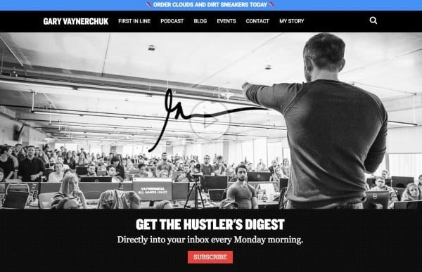 veteran content marketer, Gary Vee, shows how branding is done on his website