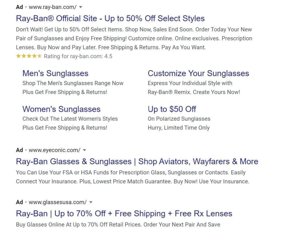 Google Ad for Ray-Bans