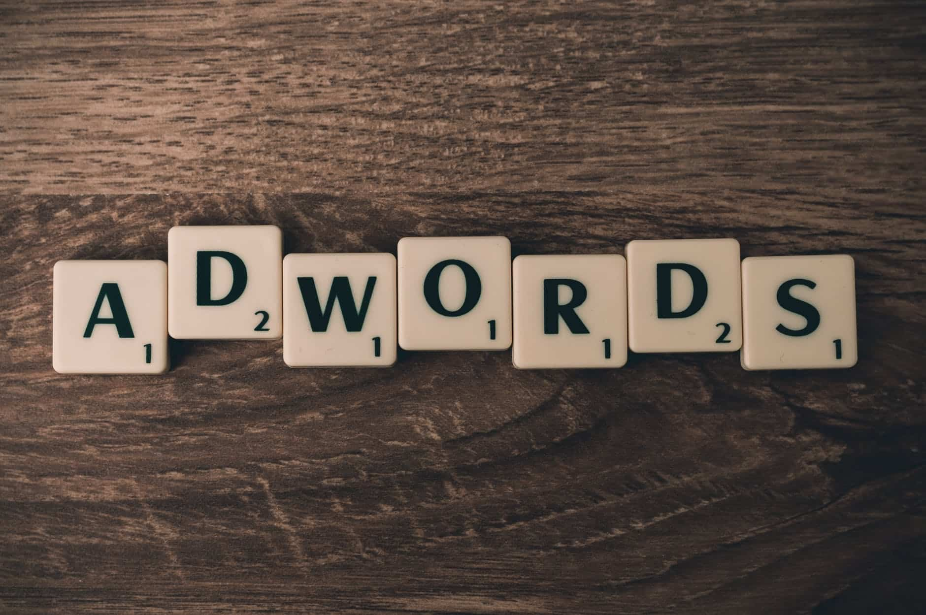 Adwords, now Google Ads, written in Scrabble letters