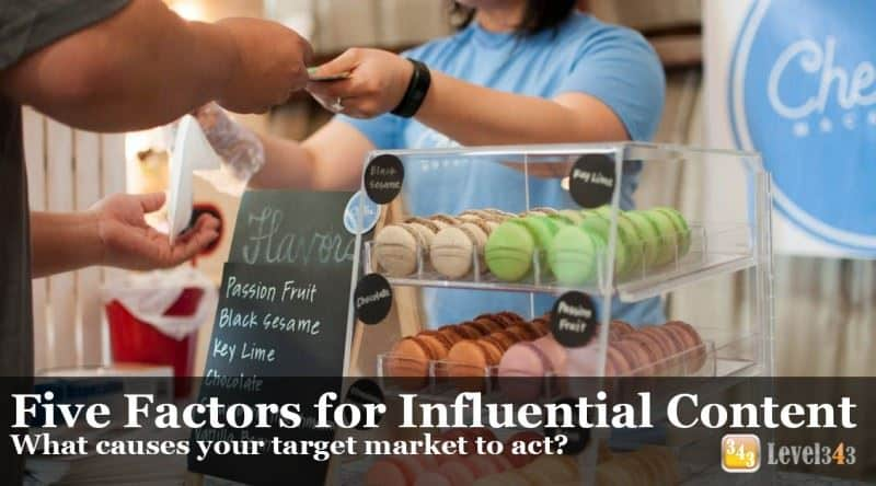 Banner: Five Factors of Influential Content. What causes your target market to act?