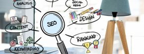 magnifying glass with SEO concepts