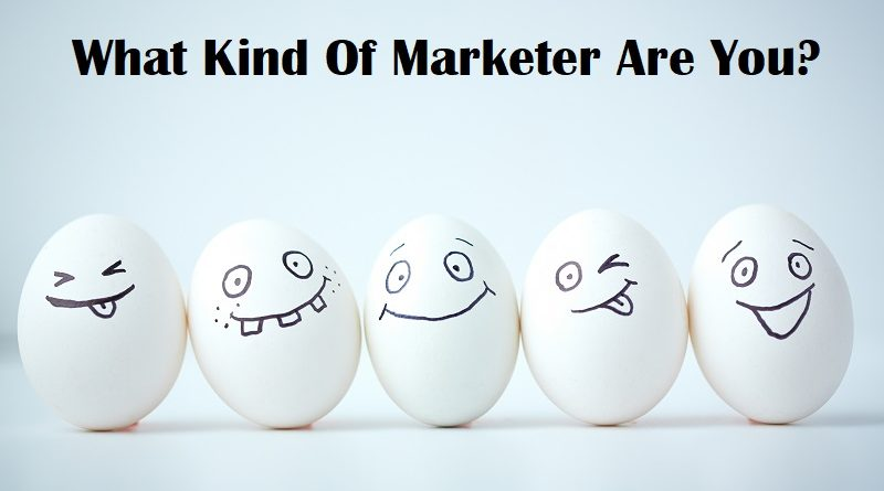 Line of eggs with different facial expressions, representing different marketing styles