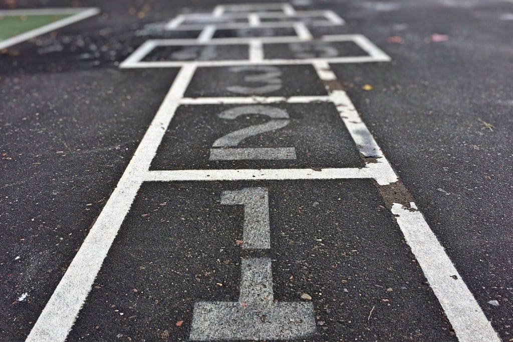 Hopscotch game symbolizing integrated SEO