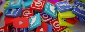pile of social media icons