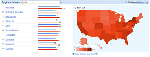"""Search insights show """"sofa"""" has higher search in some areas"""