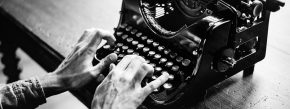 Typewriting hands telling a story