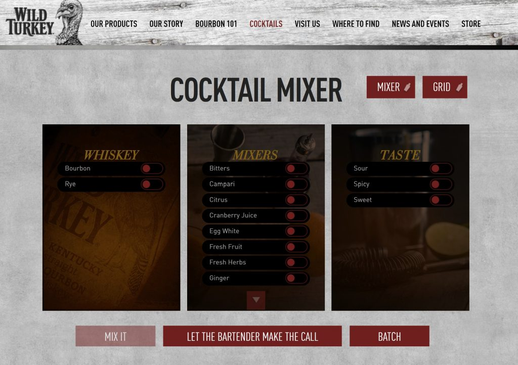 Wild Turkey Bourbon landing page: cocktail mixer