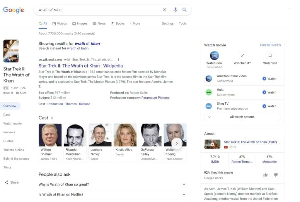 Wrath of Khan search results showing semantic search with schema markup